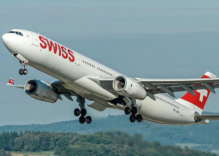 Airbus A330-300 Swiss Air Hb-jhn Greeting Card