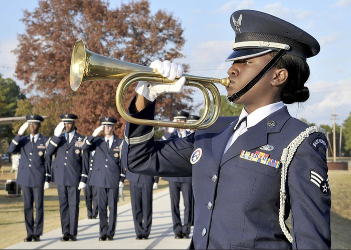 Female Greeting Card featuring the photograph Airman Plays Taps During The Veterans by Stocktrek Images