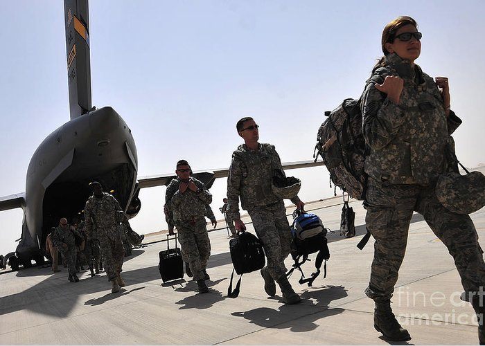 Air Force Greeting Card featuring the photograph Airmen Arrive In Iraq In Support by Stocktrek Images