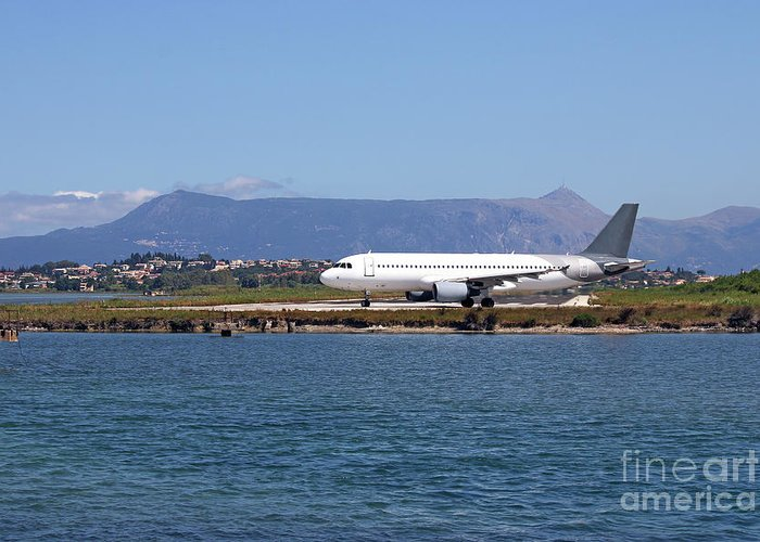 Airplane Greeting Card featuring the photograph airplane on airport Corfu island Greece by Goce Risteski