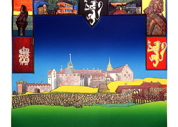 Historic Greeting Card featuring the mixed media Akershus Festning -akershusfortress by Jarle Rosseland