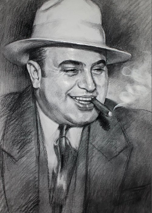 Al Capone Greeting Card featuring the drawing Al Capone by Ylli Haruni