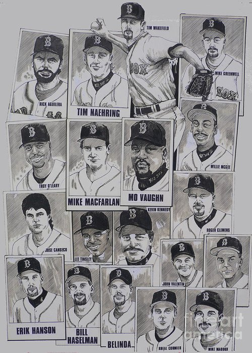 Mbl Greeting Card featuring the drawing Al East Champions Red Sox Newspaper Poster by Dave Olsen