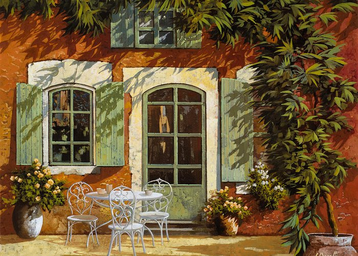 Landscape Greeting Card featuring the painting Al Fresco In Cortile by Guido Borelli