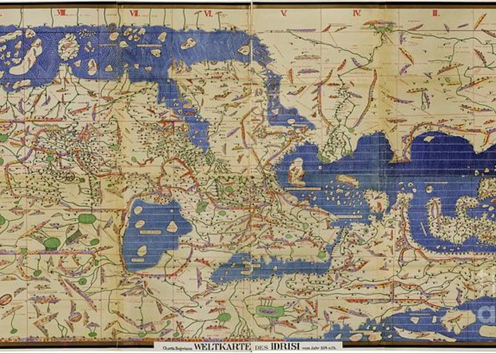 1100s Greeting Card featuring the photograph Al Idrisi World Map 1154 by SPL and Photo Researchers