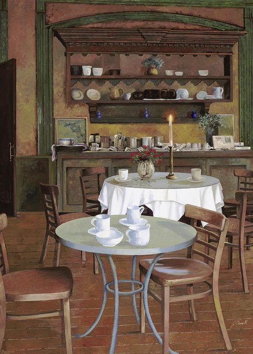 Cafe Greeting Card featuring the painting Al Lume Di Candela by Guido Borelli