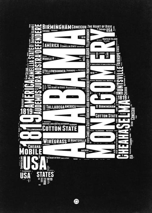 Alabama Greeting Card featuring the digital art Alabama Word Cloud Black and White Map by Naxart Studio
