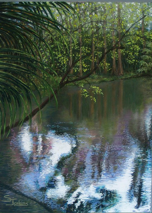 Landscape Greeting Card featuring the painting Alafia River Reflection by Susan Jenkins