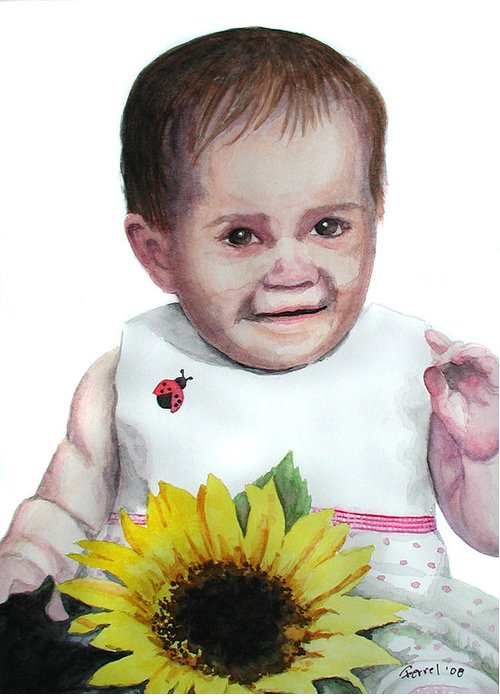 Baby Greeting Card featuring the painting Alaina by Ferrel Cordle