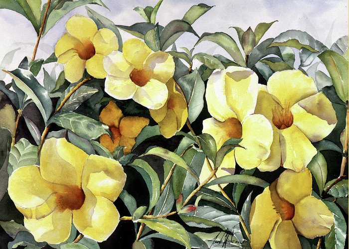 Flowers Greeting Card featuring the painting Alamandas by Leah Wiedemer