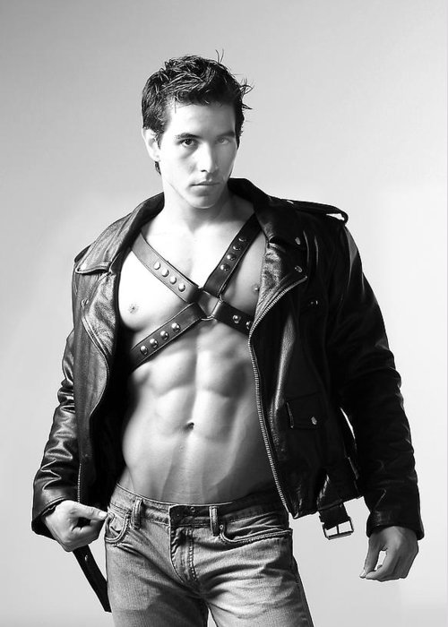 Male Greeting Card featuring the photograph Alan In Leather by Dan Nelson
