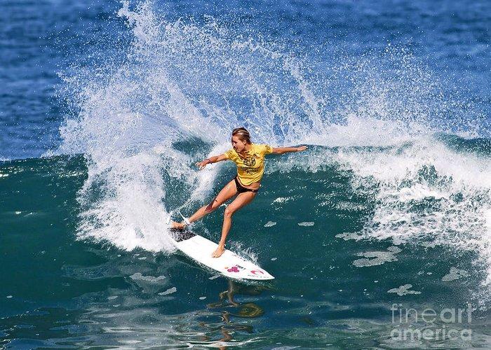 Alana Blanchard Greeting Card featuring the photograph Alana Blanchard Surfing Hawaii by Paul Topp
