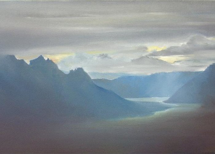 Landscape Greeting Card featuring the painting Alaska Cloud Break by Debbie Anderson
