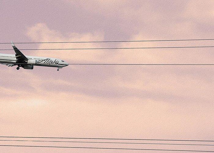 Alaska Airlines Greeting Card featuring the photograph Alaska Landing by Stan Magnan