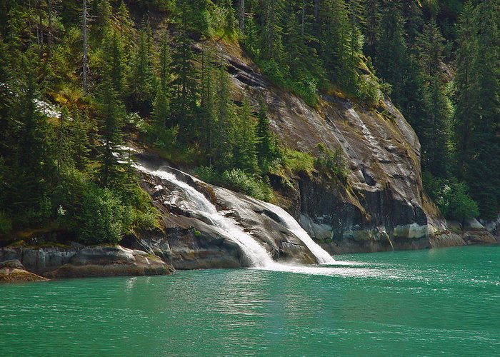 Waterfall Greeting Card featuring the photograph Alaska Tracy Arm by Heather Coen