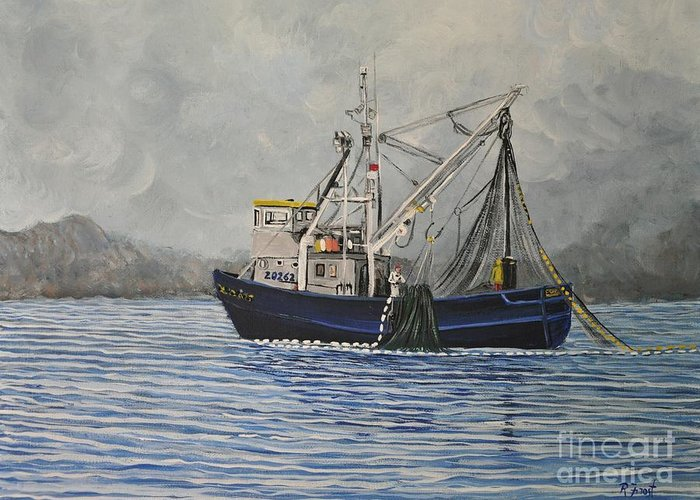 Boats Greeting Card featuring the painting Alaskan Fishing by Reb Frost