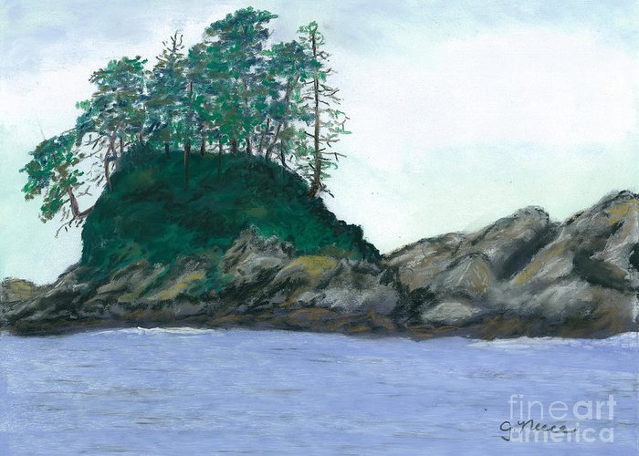 Island Greeting Card featuring the pastel Alaskan Islet by Ginny Neece