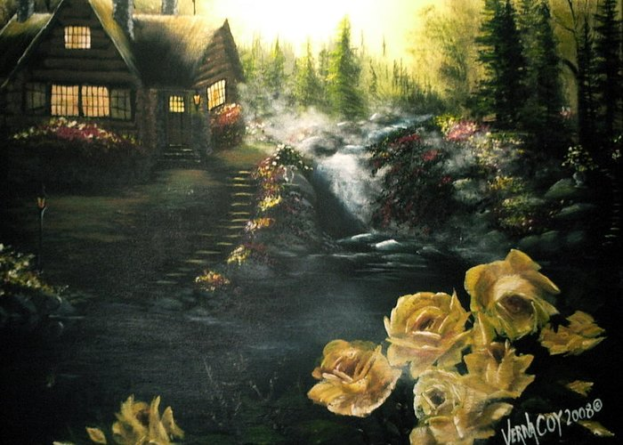 Alaska Alaskan Summer Yellow Roses Cabin Scenery Greeting Card featuring the painting Alaskan Summer Day by Verna Coy