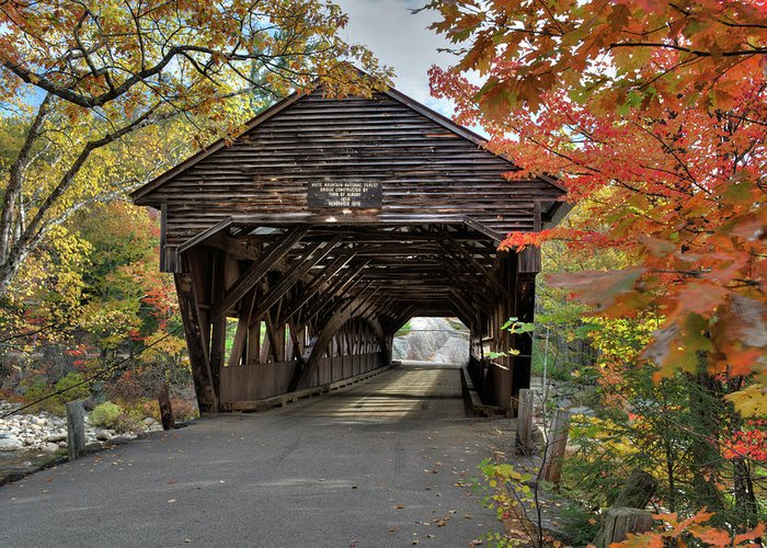 New England Greeting Card featuring the photograph Albany Covered Bridge by Dave Thompsen