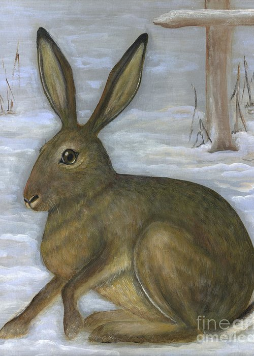 Wild Animals Greeting Card featuring the painting Albert The Hare by Anna Folkartanna Maciejewska-Dyba