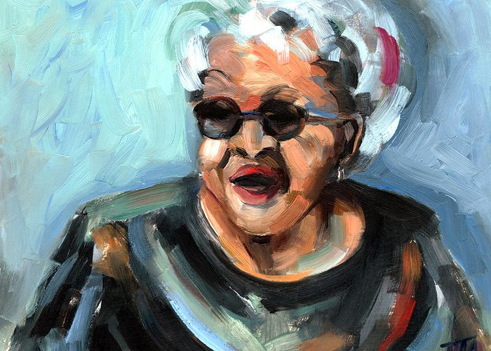 Portrait Greeting Card featuring the painting Alberta Adams by Jackie Merritt