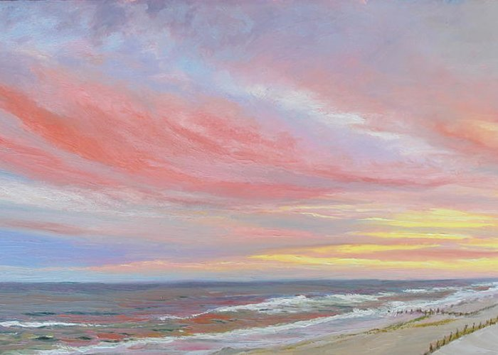 Seascape Greeting Card featuring the painting Alberta's Sunset by Lea Novak