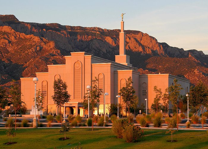 Lds Greeting Card featuring the photograph Albuquerque Lds Temple At Sunset 1 by Marie Leslie