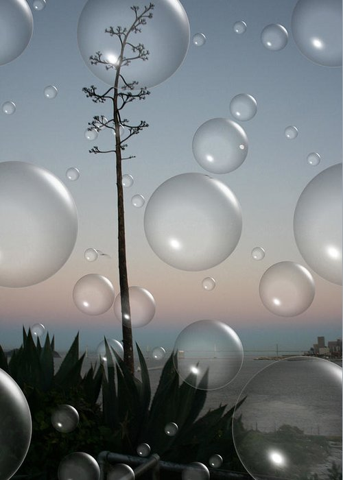 Alcatraz Greeting Card featuring the digital art Alca Bubbles by Holly Ethan