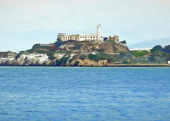Prison Greeting Card featuring the digital art Alcatraz by Ronald Bolokofsky