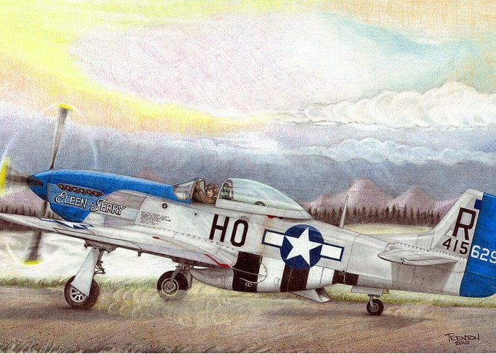 352nd Greeting Card featuring the drawing Alden Rigby - Blue Nose Warrior by Trenton Hill