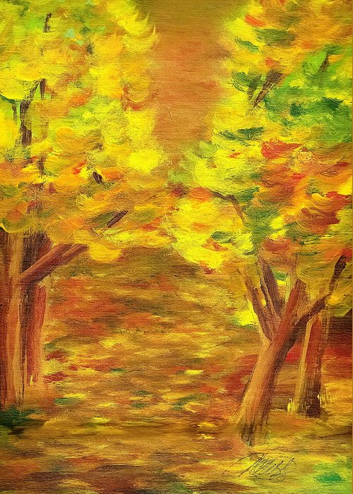Landscape Greeting Card featuring the painting Aldergrove Lake Park by Vi Mosley