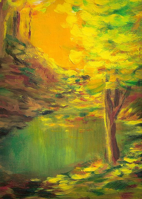 Landscape Greeting Card featuring the painting Aldergrove Lake by Vivian Mosley
