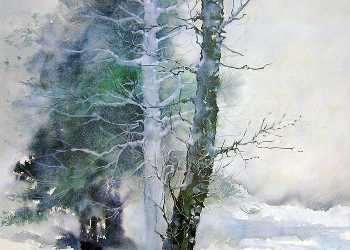 Trees Greeting Card featuring the painting Alders And Cedar by Dale Witherow