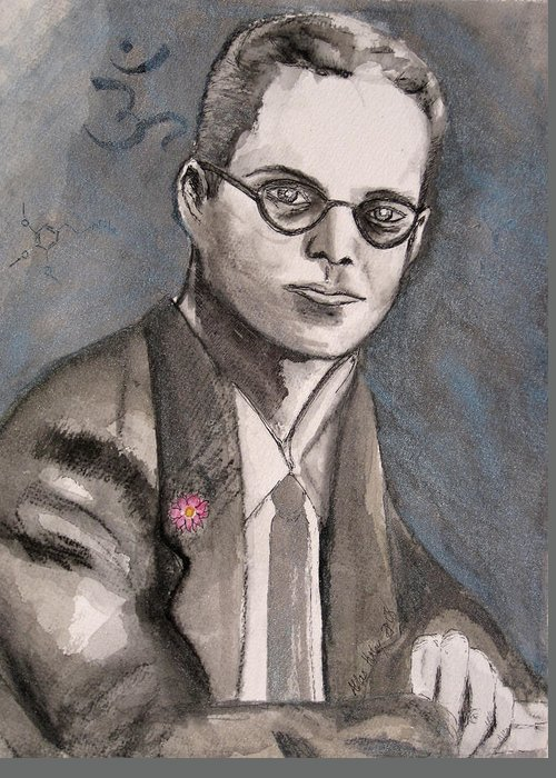 Aldous Brave Darkestartist Huxley New Painting Portrait Watercolor Watercolour World Greeting Card featuring the painting Aldous Huxley by Darkest Artist