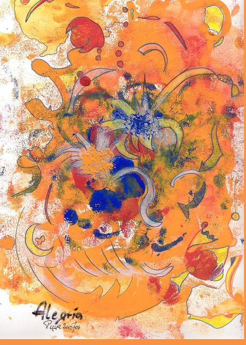 Alegria Greeting Card featuring the mixed media Alegria by Michael Puya