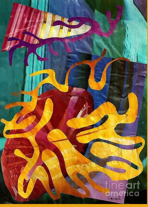 Abstract Greeting Card featuring the mixed media Alegria by Sarah Loft