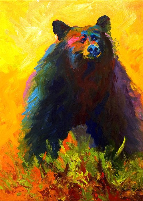 Western Greeting Card featuring the painting Alert - Black Bear by Marion Rose