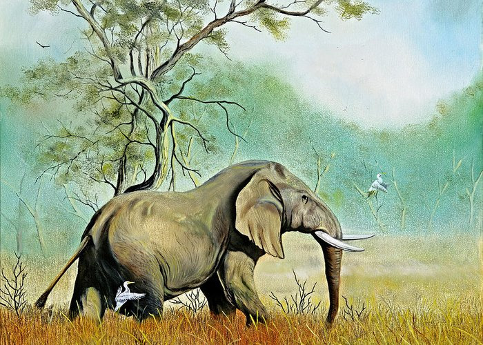 Wildlife Greeting Card featuring the painting Alert by Don Griffiths