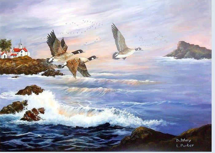 Aleutian Geese /lighthouse Greeting Card featuring the painting Aleutian Geese With Lighthouse by Lynne Parker