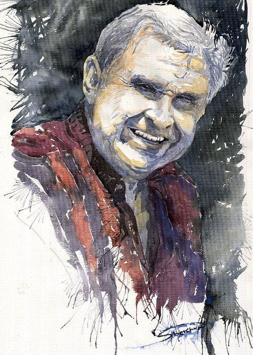 Watercolour Greeting Card featuring the painting Alex by Yuriy Shevchuk