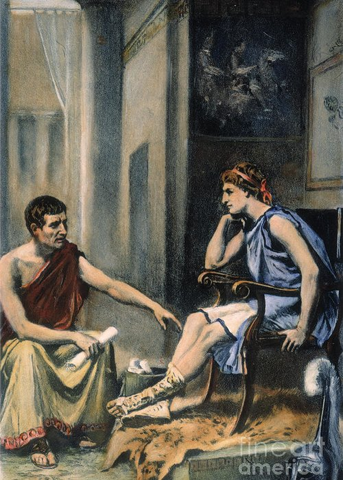 4th Century B.c. Greeting Card featuring the photograph Alexander & Aristotle by Granger