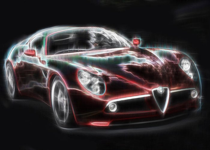 Alfa Romeo Greeting Card featuring the digital art Alfa by Kenneth Armand Johnson