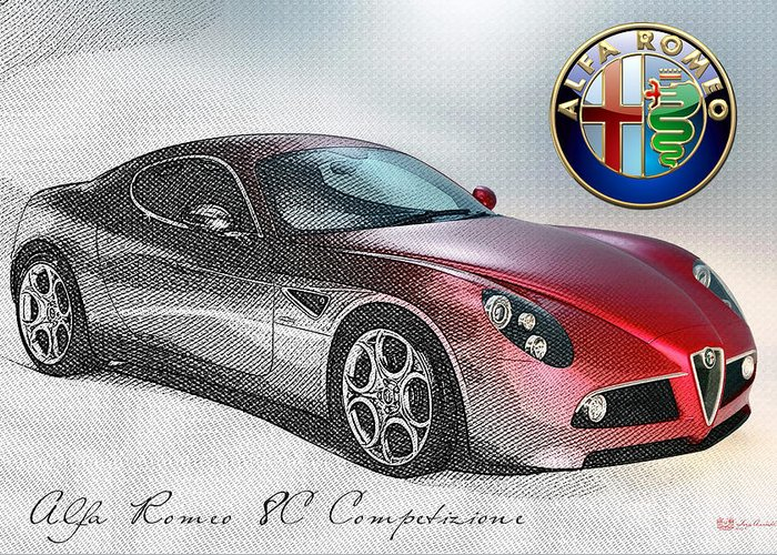 Wheels Of Fortune By Serge Averbukh Greeting Card featuring the photograph Alfa Romeo 8C Competizione by Serge Averbukh