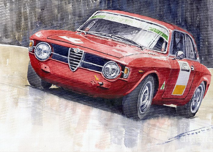 Watercolor Greeting Card featuring the painting Alfa Romeo Giulie Sprint Gt 1966 by Yuriy Shevchuk