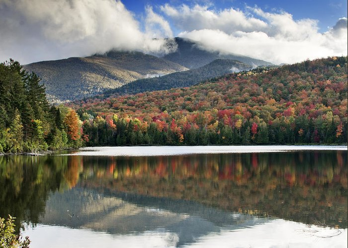 Fall Greeting Card featuring the photograph Algonquin Peak From Heart Lake - Adirondack Park - New York by Brendan Reals