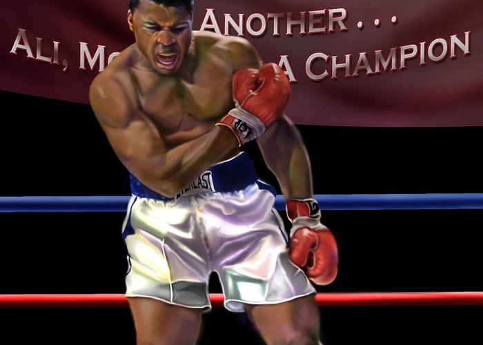 The Greatest Greeting Card featuring the painting Ali - More Than A Champion by Reggie Duffie