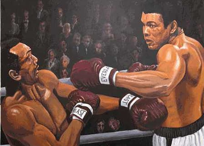 World Champion Greeting Card featuring the painting Ali Vs Foster by Kenneth Kelsoe