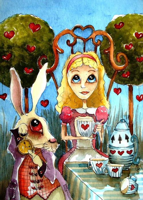Alice Wonderland White Rabbit Blue Sky Cute Art Heart Tree Tea Teapot Teacup Table Cloth Pocketwatch Clock Greeting Card featuring the painting Alice And The Rabbit Having Tea... by Lucia Stewart