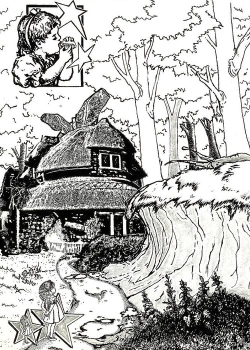 Alice In Wonderland Greeting Card featuring the drawing Alice At The March Hare's House by Turtle Caps