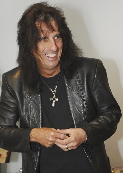 Alice Cooper Greeting Card featuring the photograph Alice Cooper Happy by Jill Reger